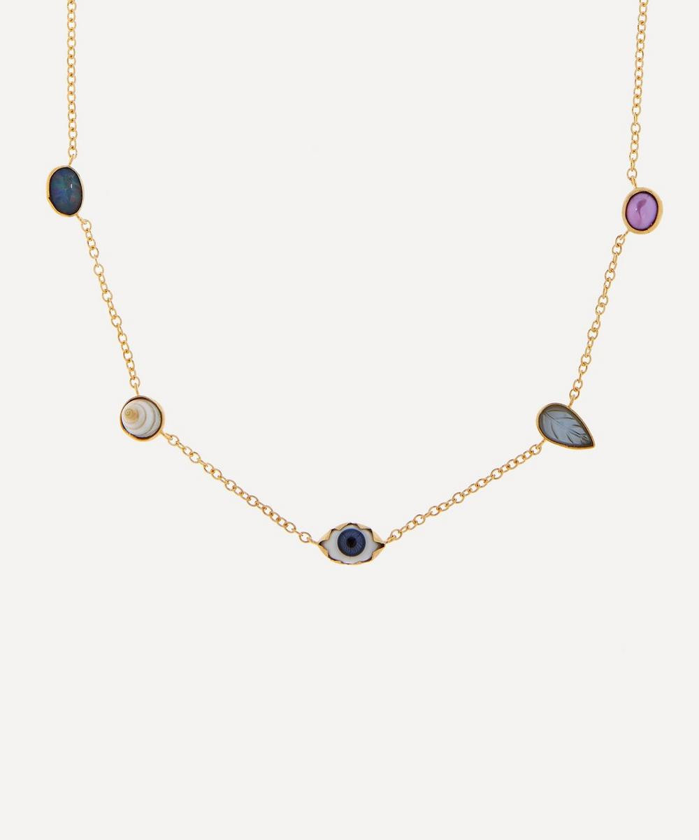 Gold-Plated Multi-Stone Five Mini Charm Necklace