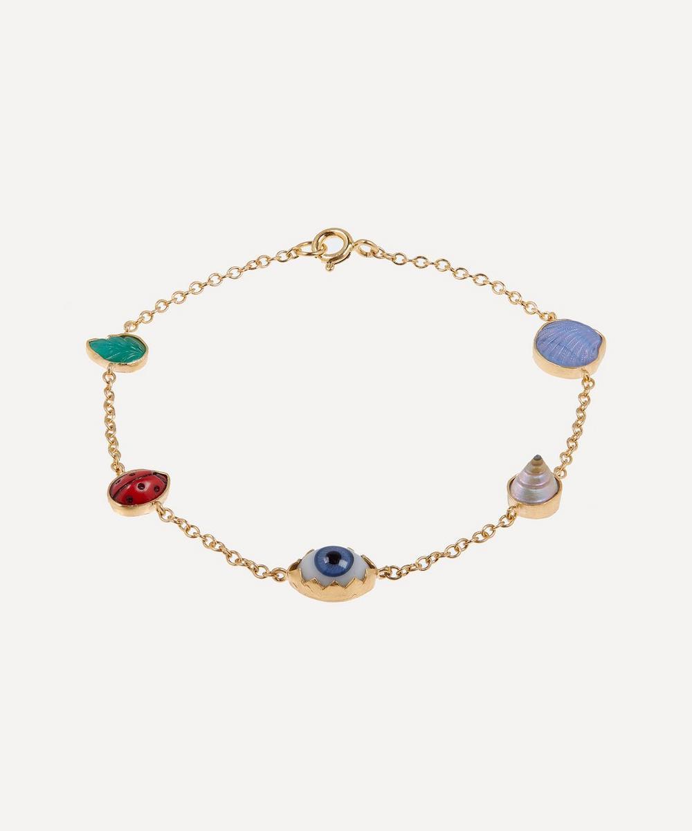 Gold-Plated Multi-Stone Five Mini Charm Bracelet