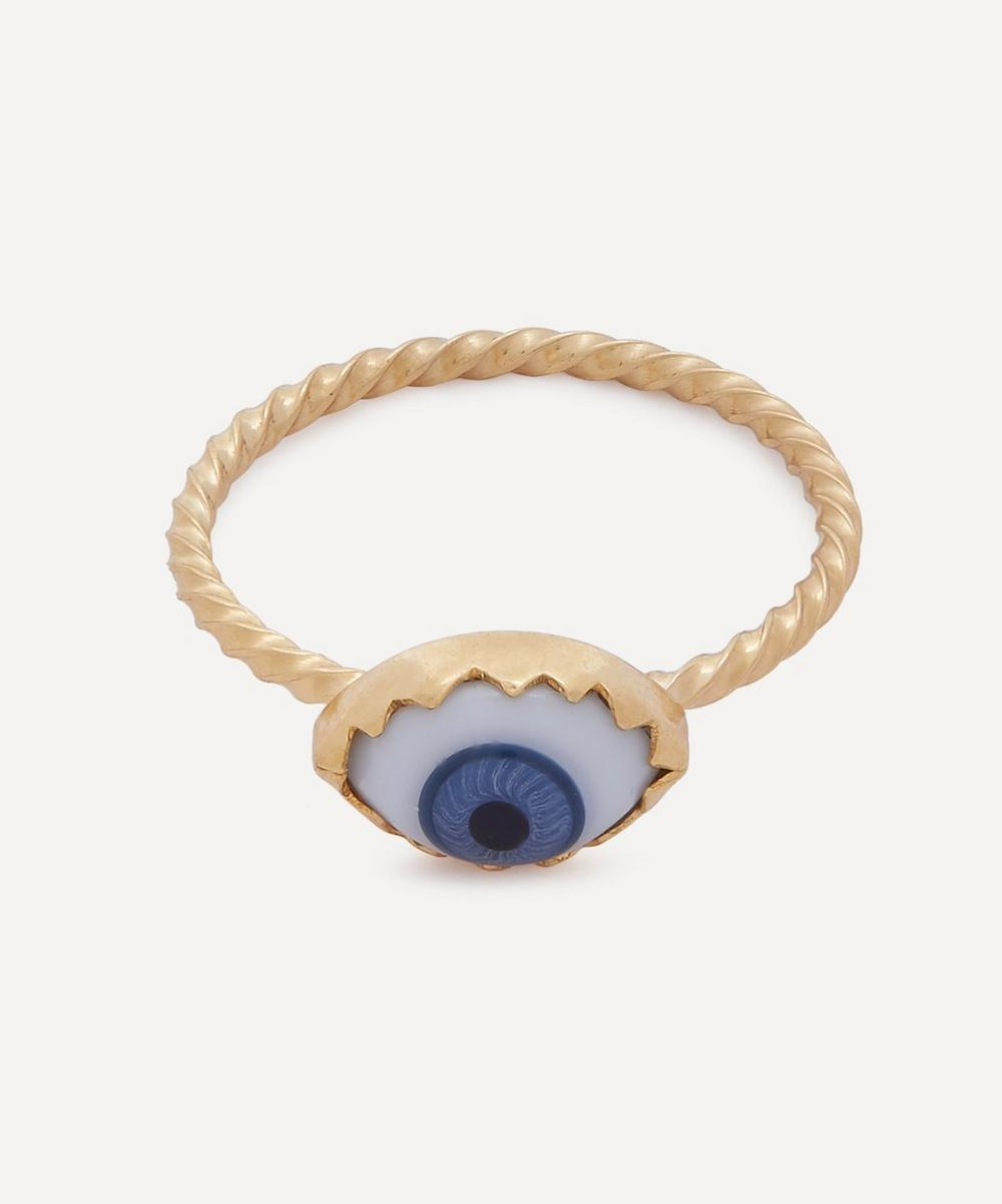 Gold-Plated Antique Glass Eye Ring