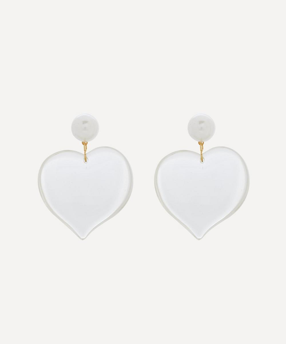 Pearl and Clear Resin Heart Drop Earrings