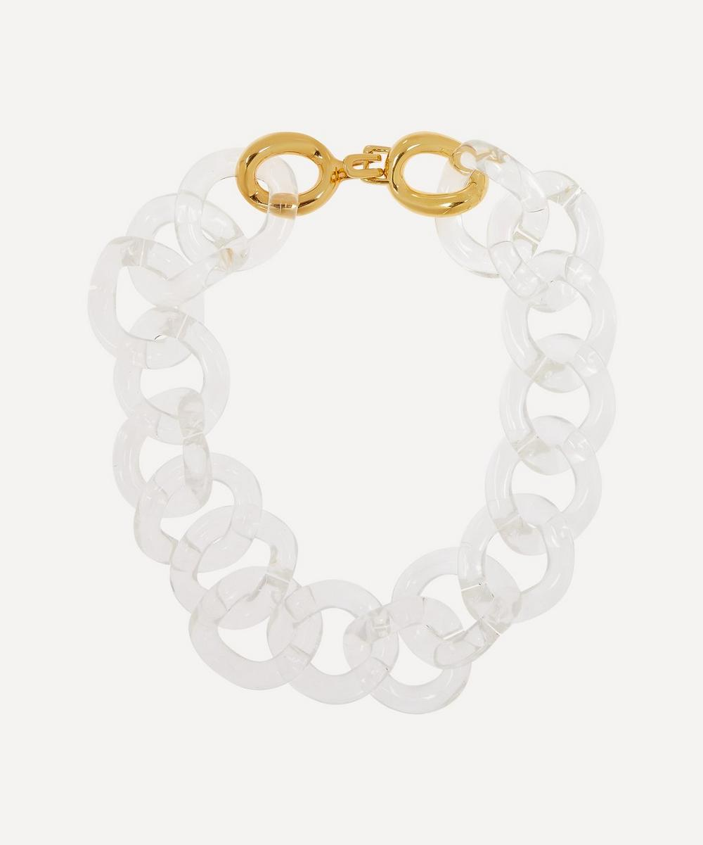 Gold-Plated Clear Resin Link Necklace