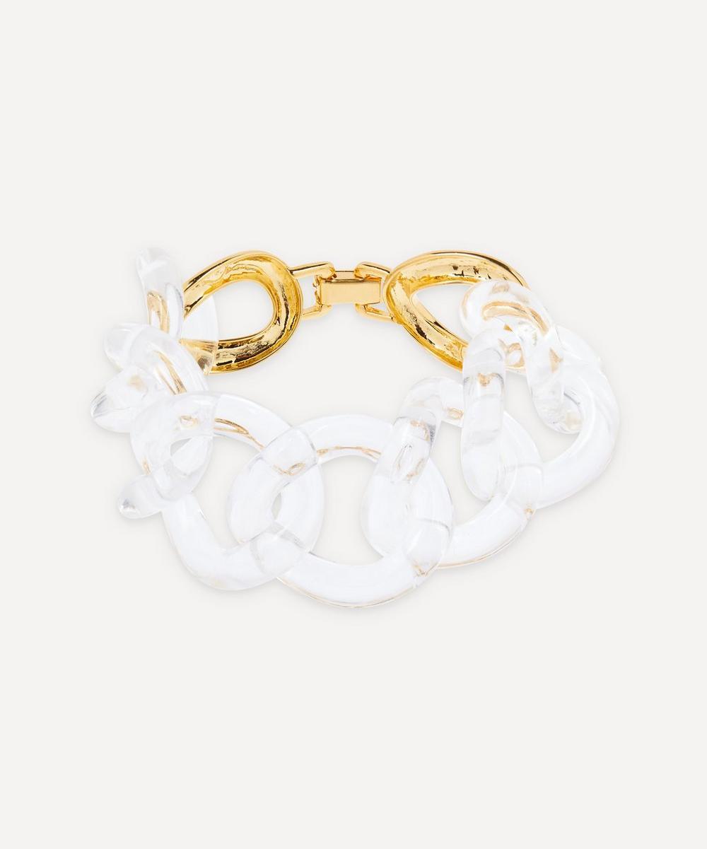 Gold-Plated Clear Resin Link Bracelet