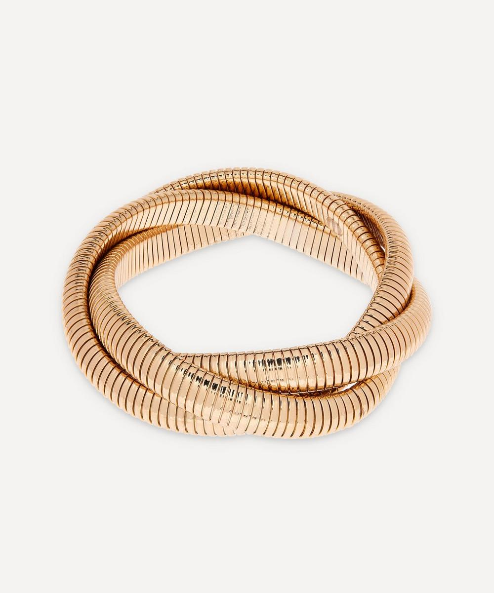 Gold-Plated Twisted Snake Chain Stretch Bracelet