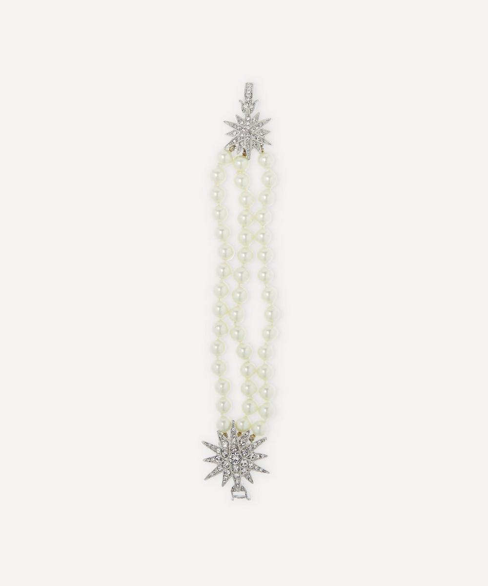 Rhodium-Plated Crystal Star Three-Strand Pearl Bracelet