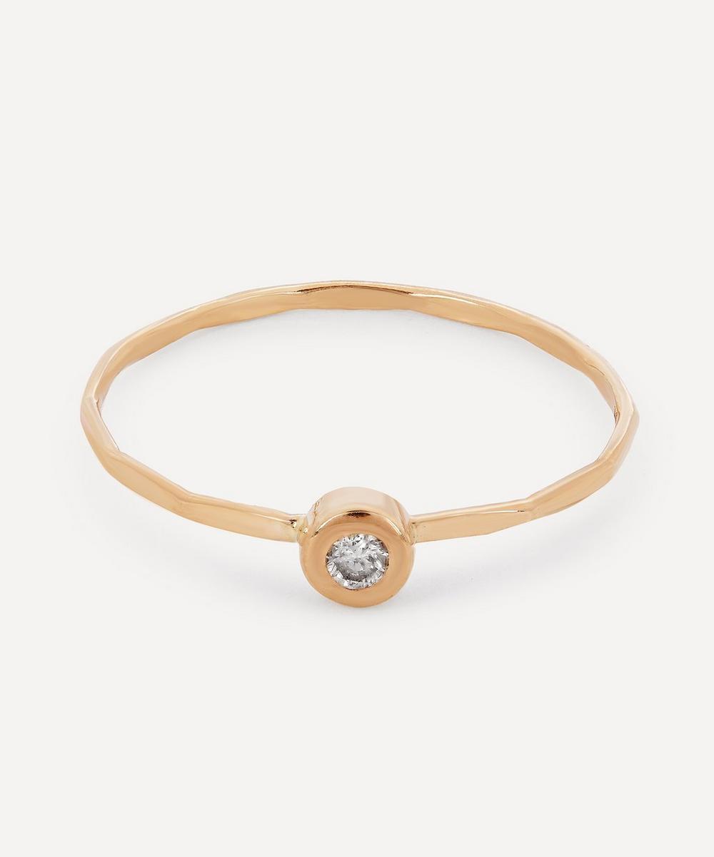 Gold Flush Set White Diamond Ring