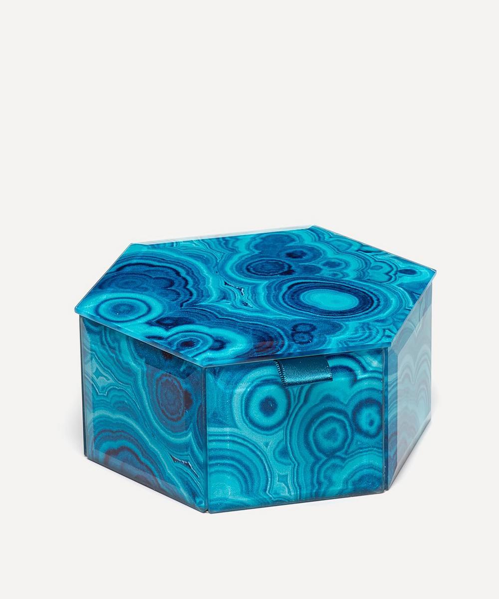 Bubble Malachite Small Hexagon Treasure Box