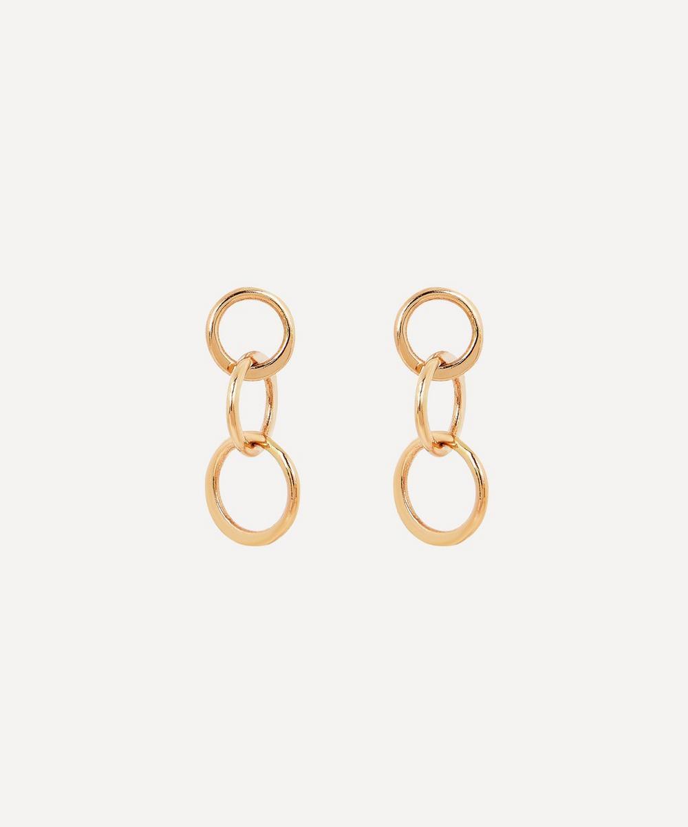 Gold Mini Triple Circle Drop Earrings