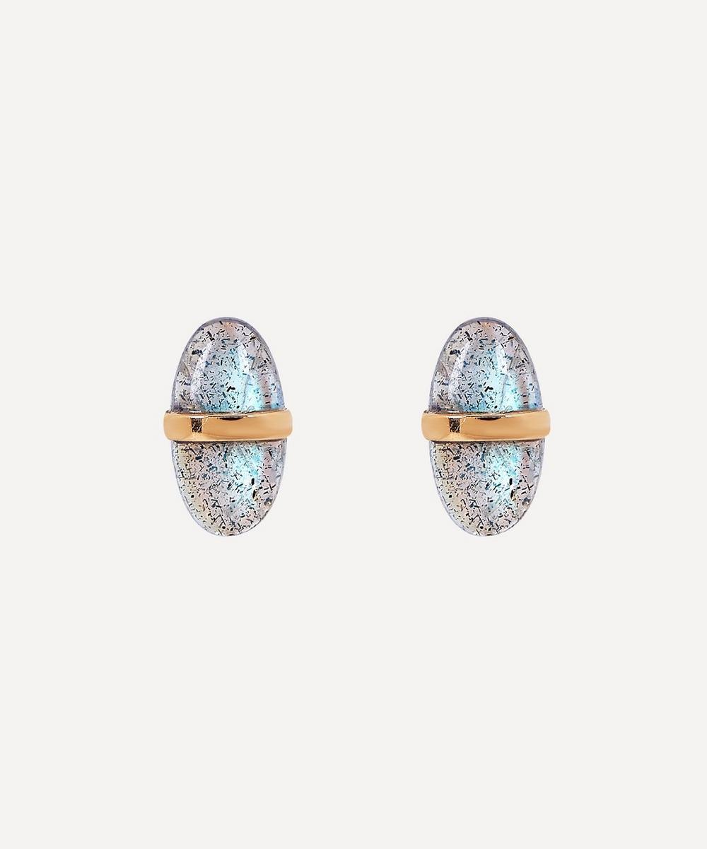 Gold Bezel Wrap Labradorite Stud Earrings