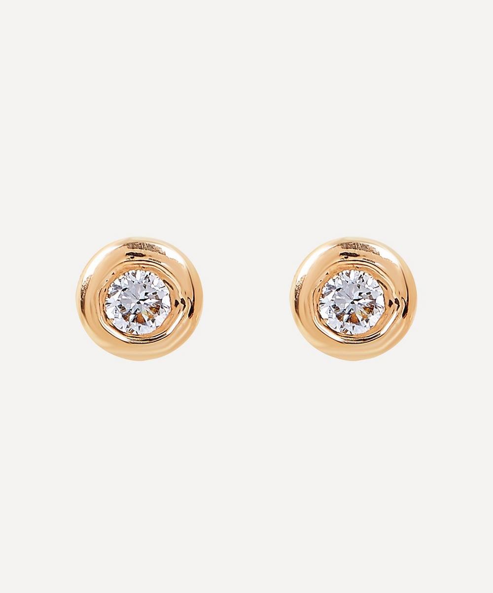 Gold Flush Set Diamond Disc Stud Earrings