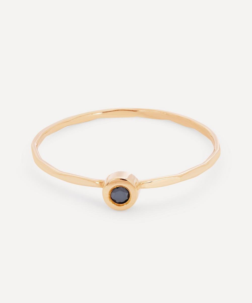 Gold Flush Set Black Diamond Ring