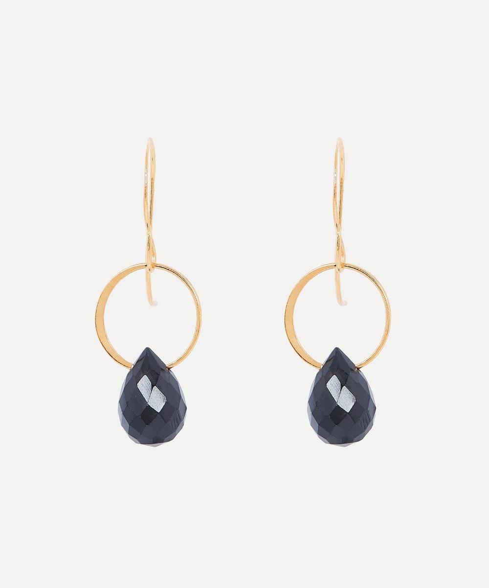 Gold Black Onyx Single Drop Earrings