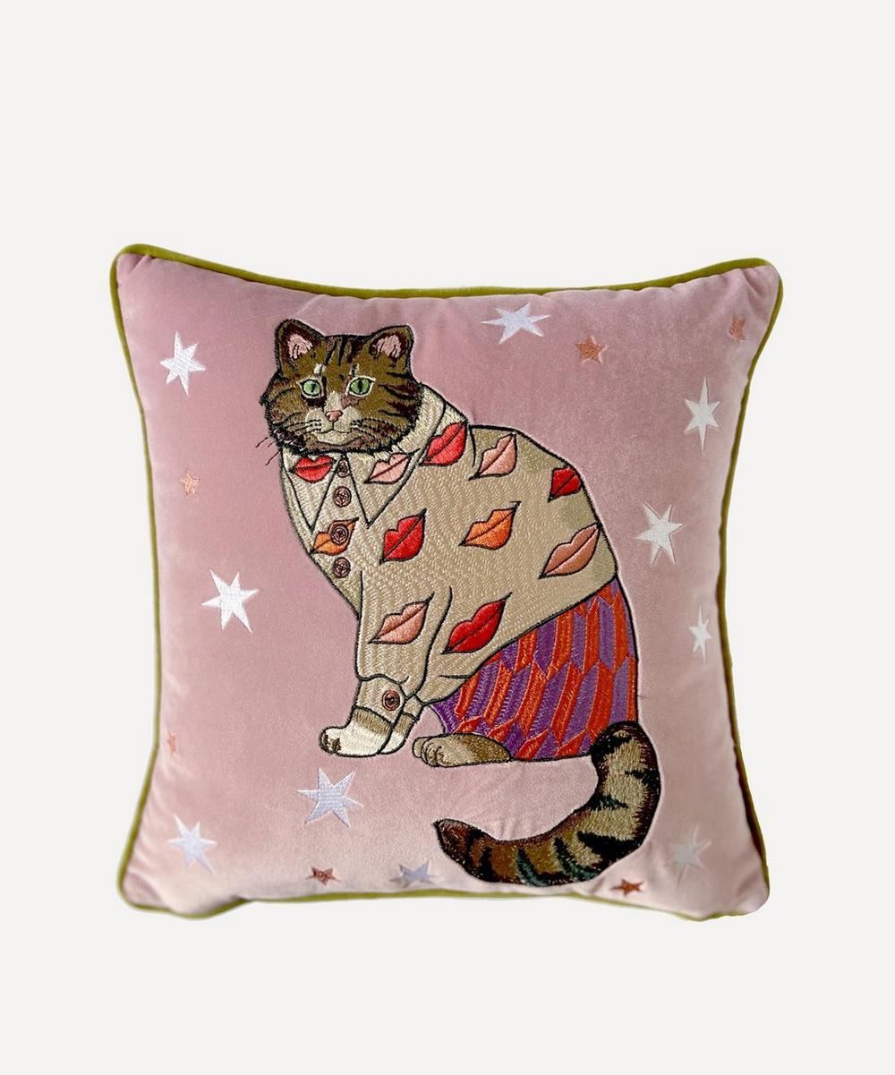 Lips Embroidered Cat Cushion