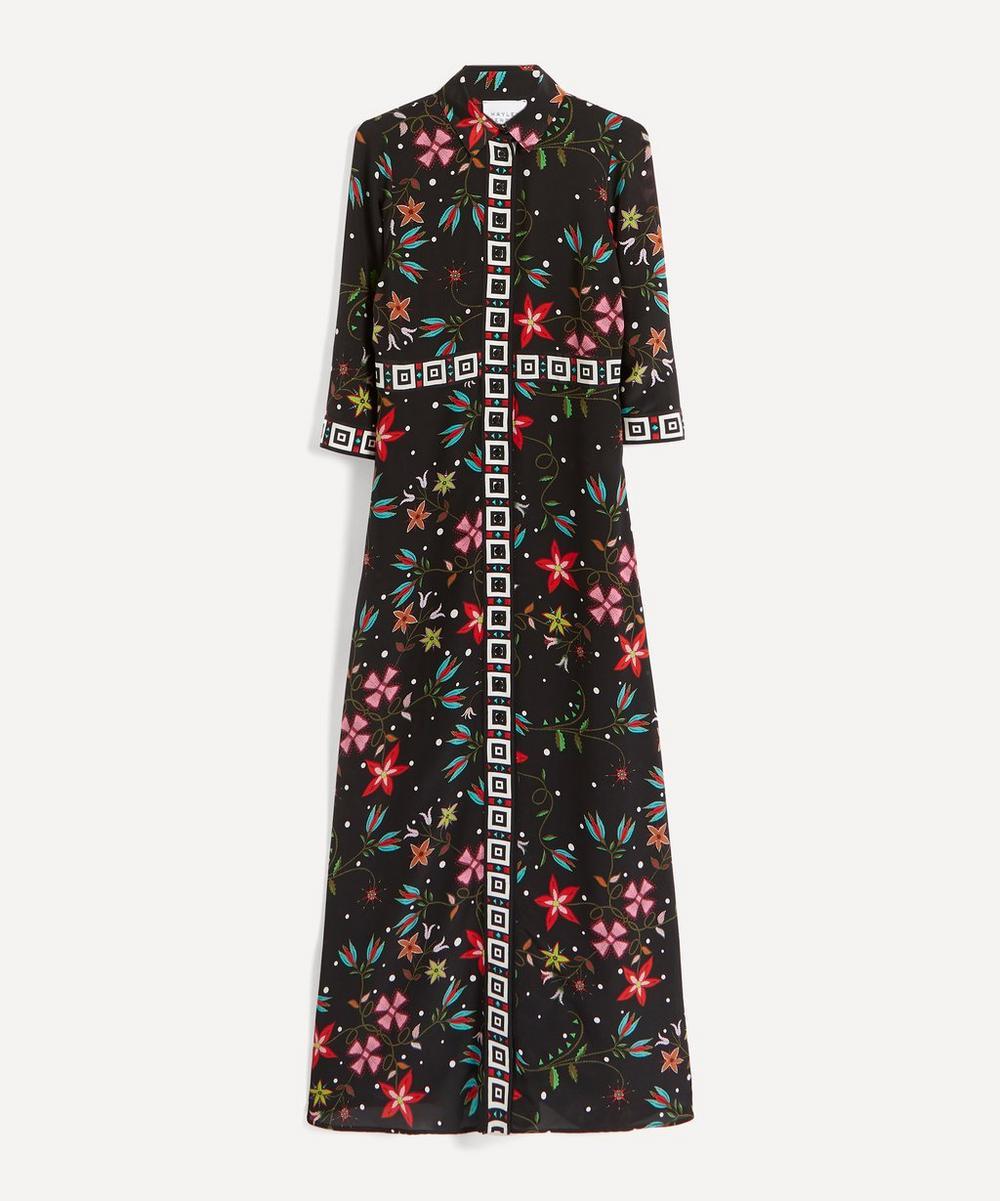 Flower Print Silk Maxi-Dress