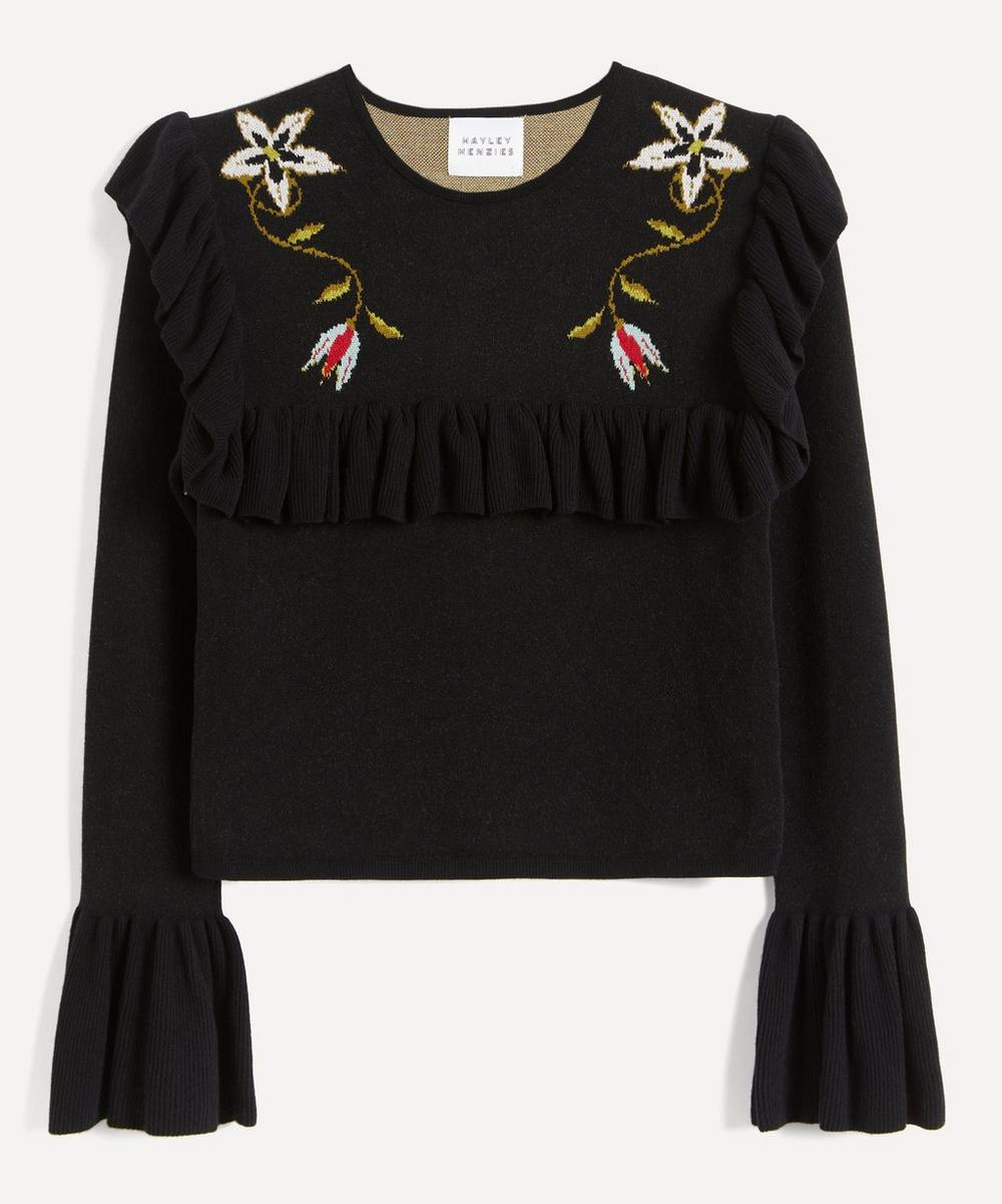 Embroidered Frill-Sleeve Cropped Jumper
