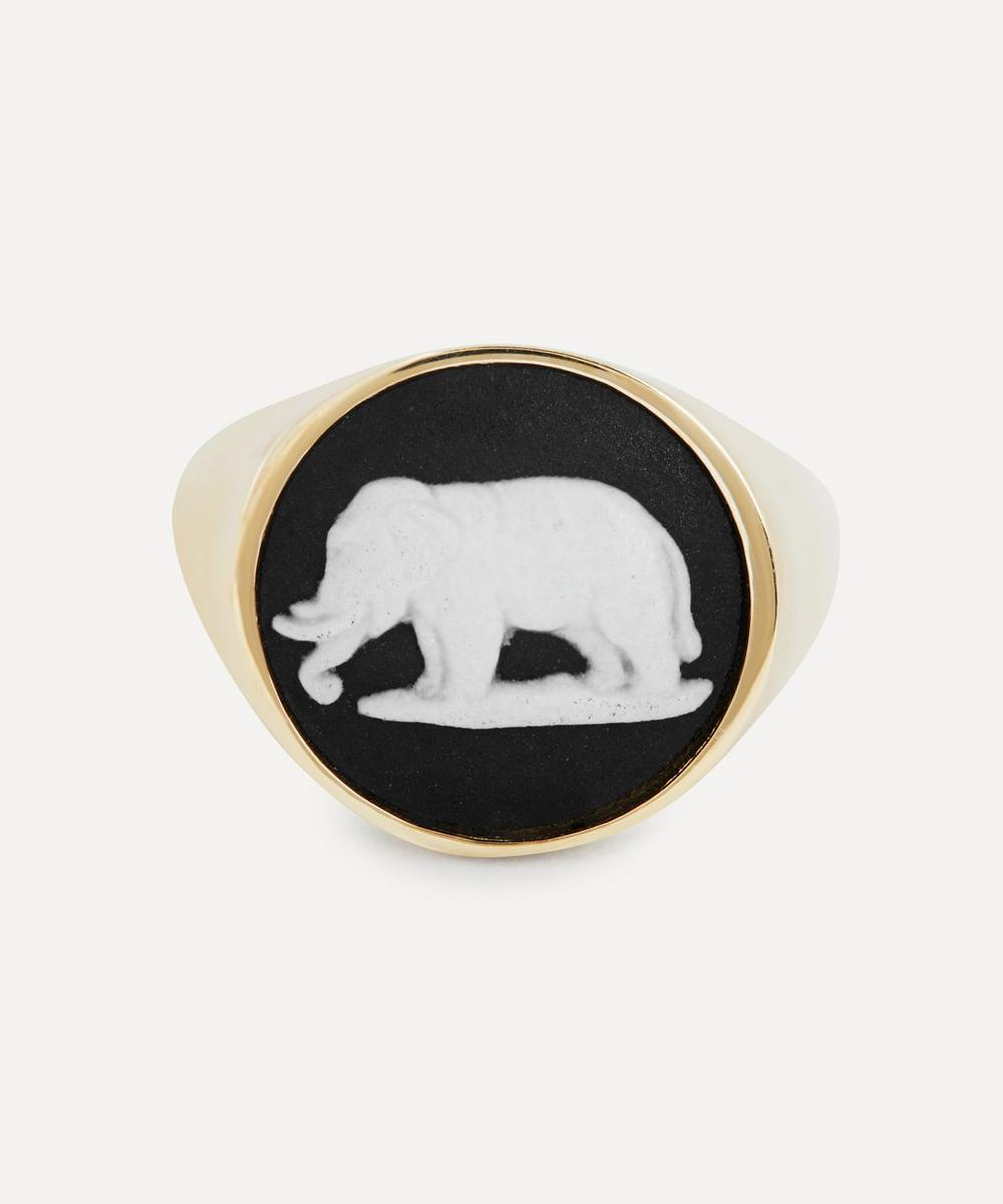 Gold Wedgwood Elephant Round Signet Ring