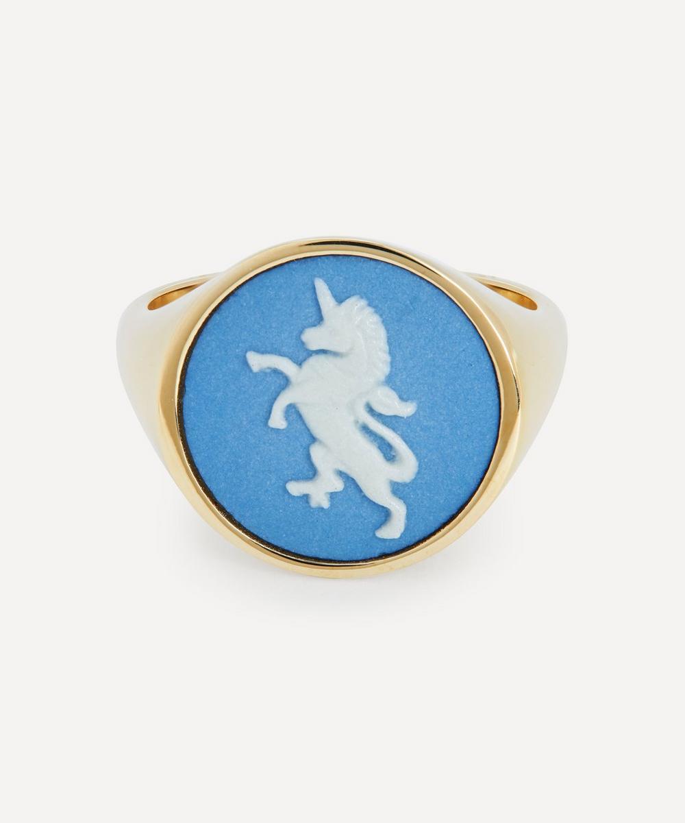 Gold Wedgwood Unicorn Round Signet Ring