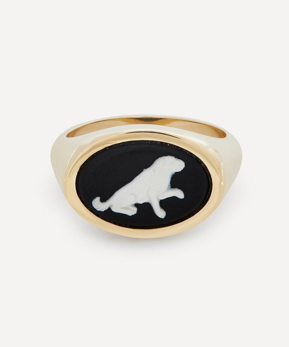 Gold Wedgwood Begging Dog Oval Signet Ring