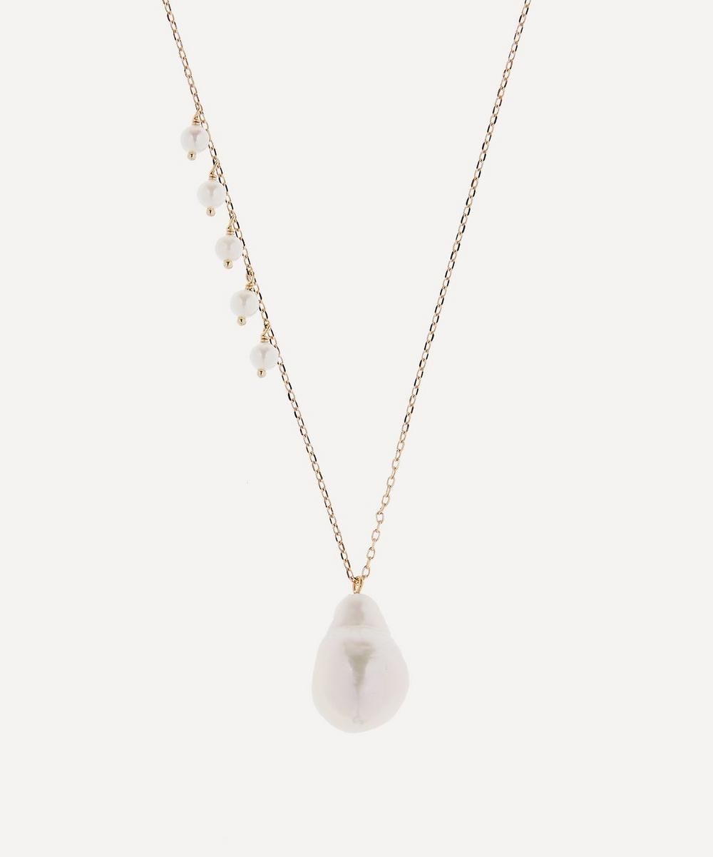 Gold Pearl Fringe and Baroque Pearl Drop Pendant Necklace