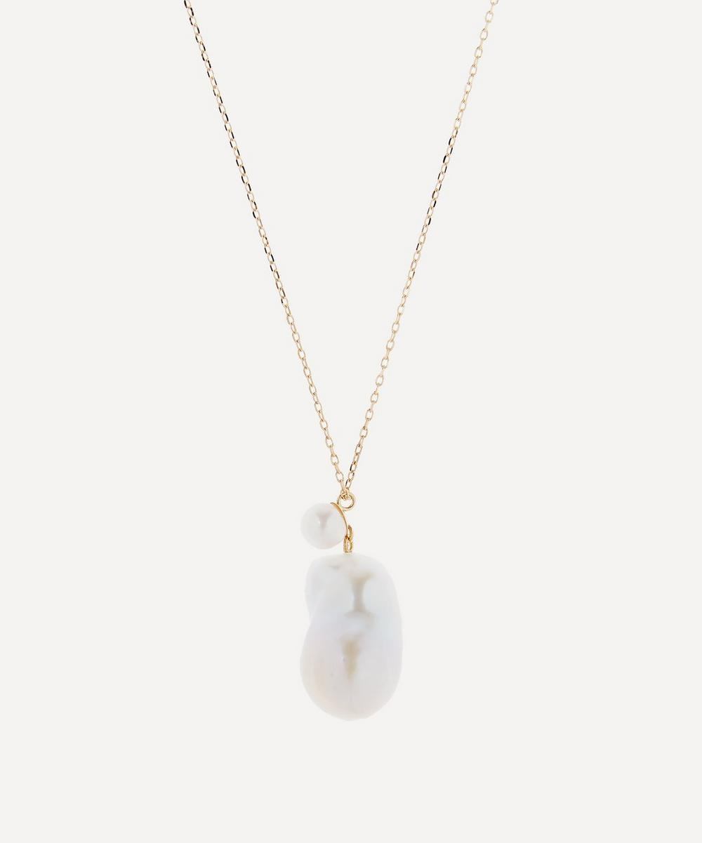 Gold Double Pearl Drop Pendant Necklace