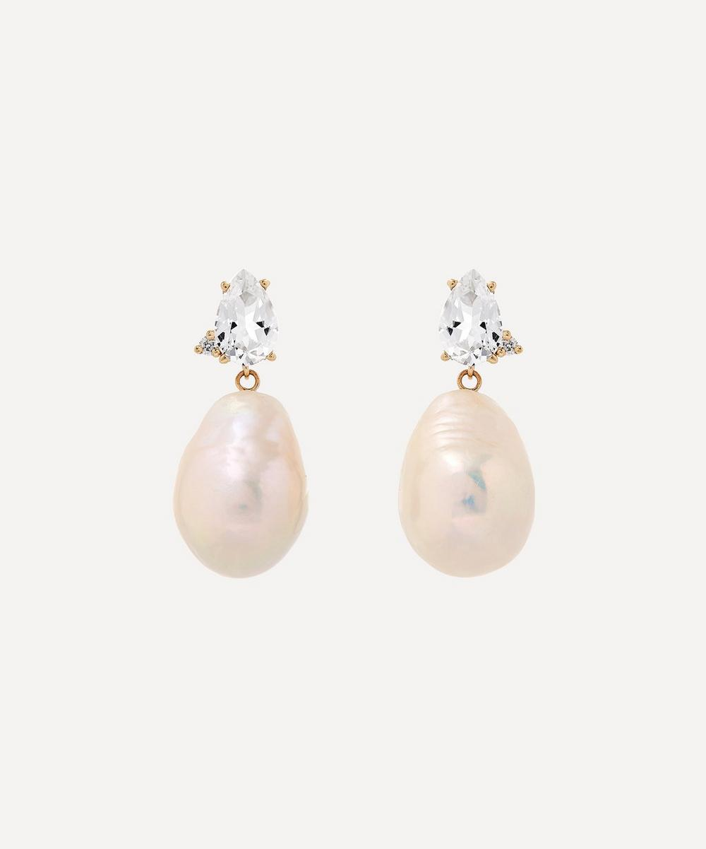 Gold White Topaz with Diamond and Pearl Drop Earrings