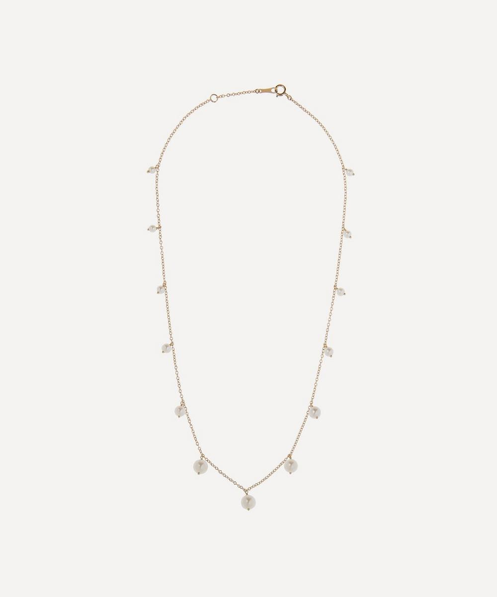 Gold Graduated Pearl Fringe Station Necklace