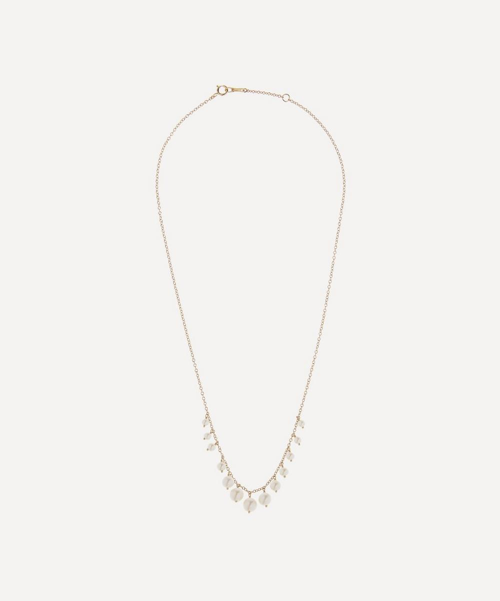 Gold Graduated Pearl Fringe Necklace