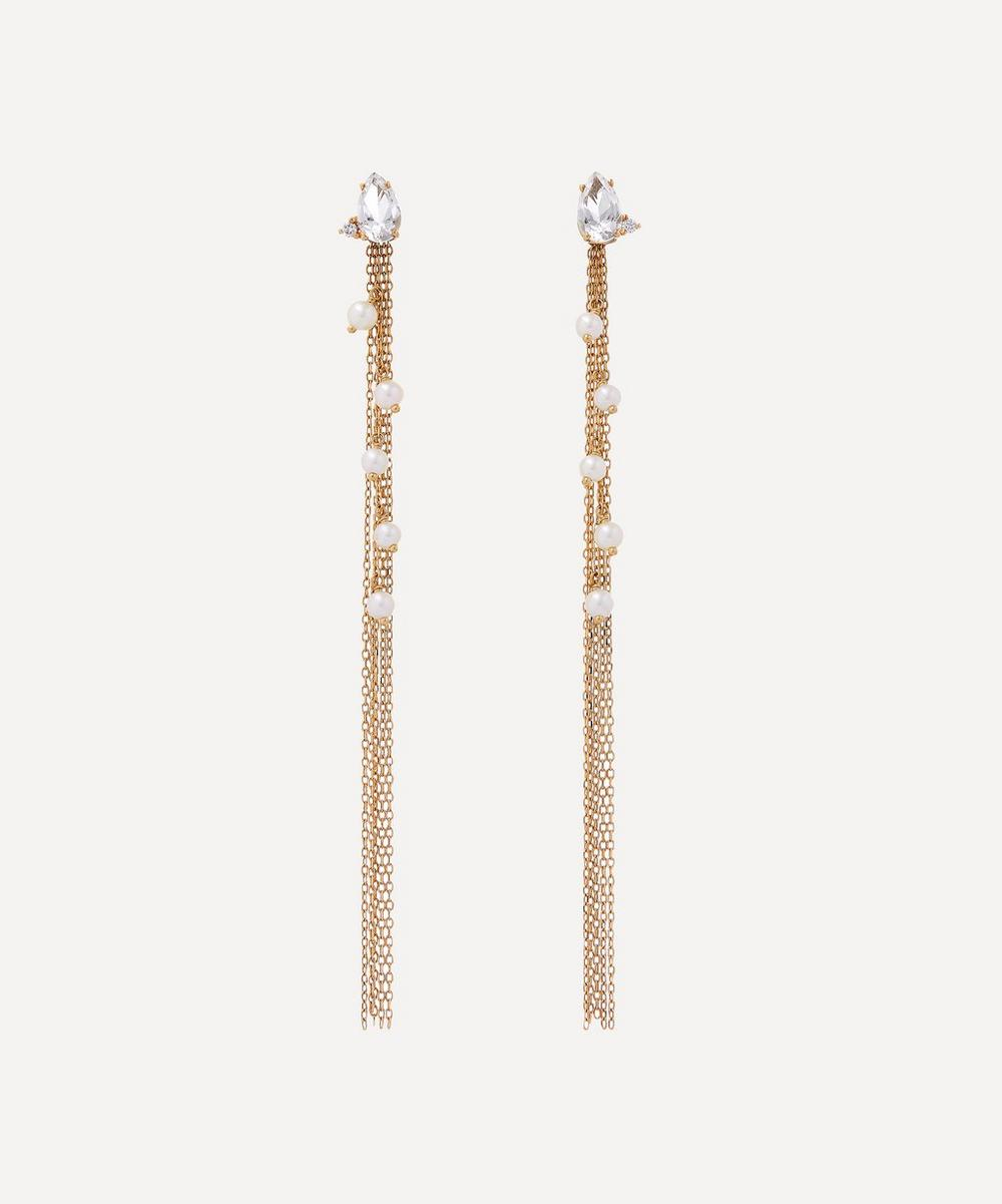 Gold White Topaz and Diamond Long Pearl Fringe Drop Earrings