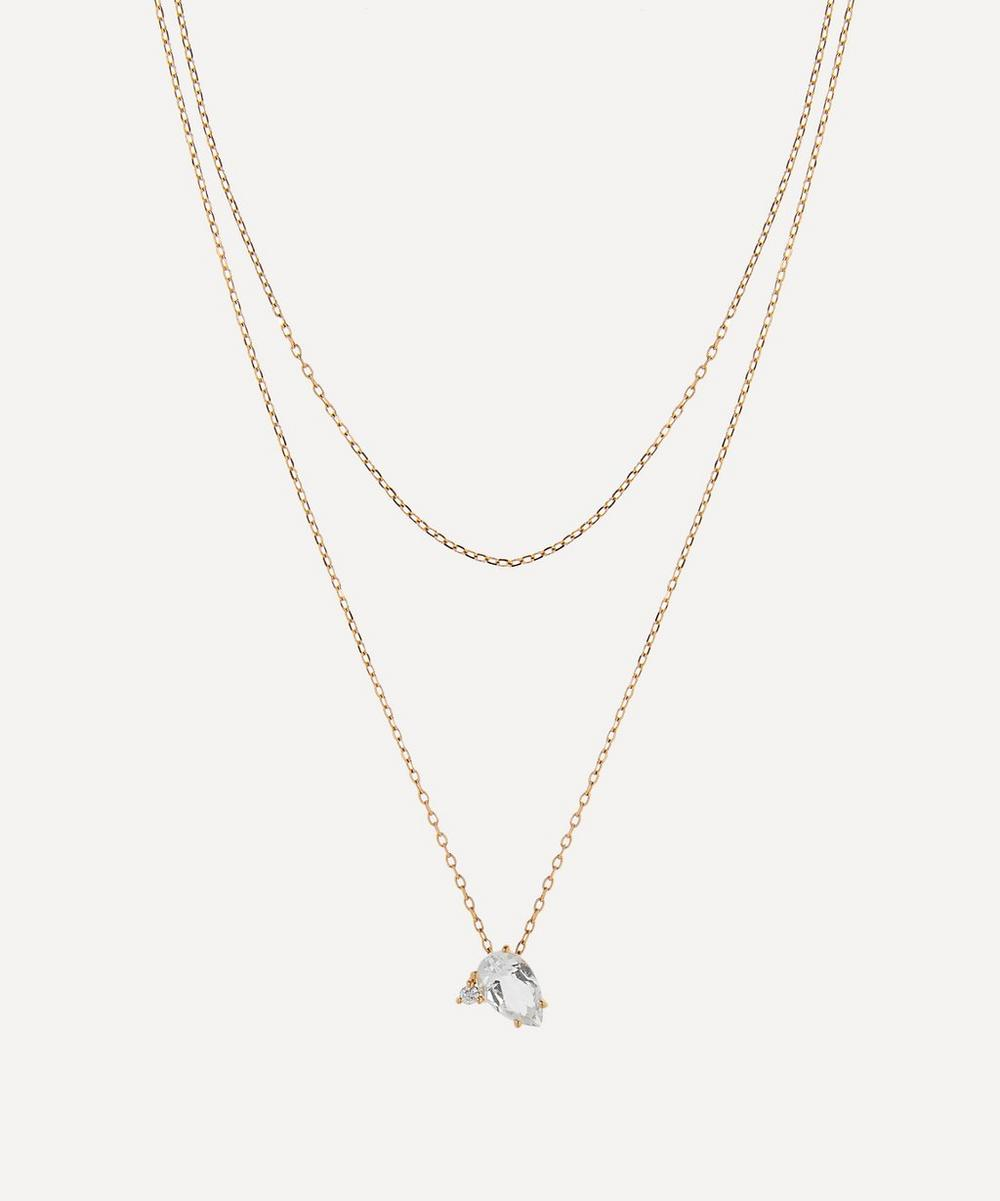 Gold White Topaz and Diamond Double Chain Pendant Necklace