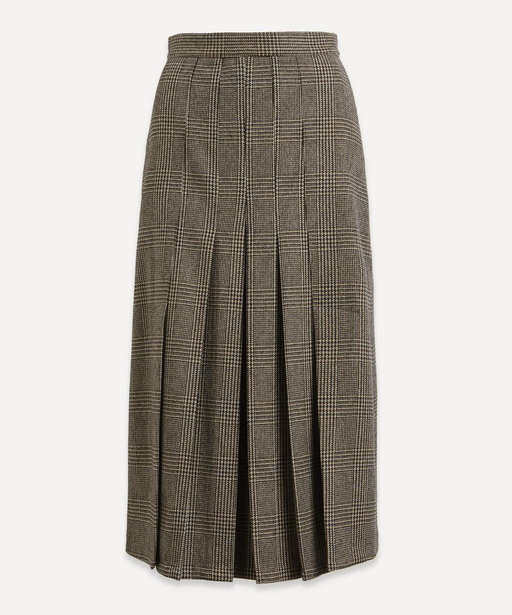 Check Wool Midi-Skirt