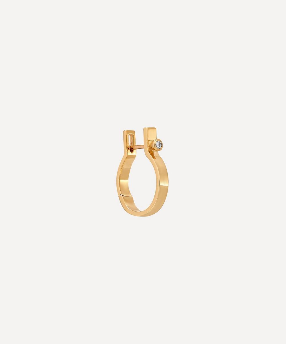 Gold Ind'stria 3mm Diamond Hoop Earring