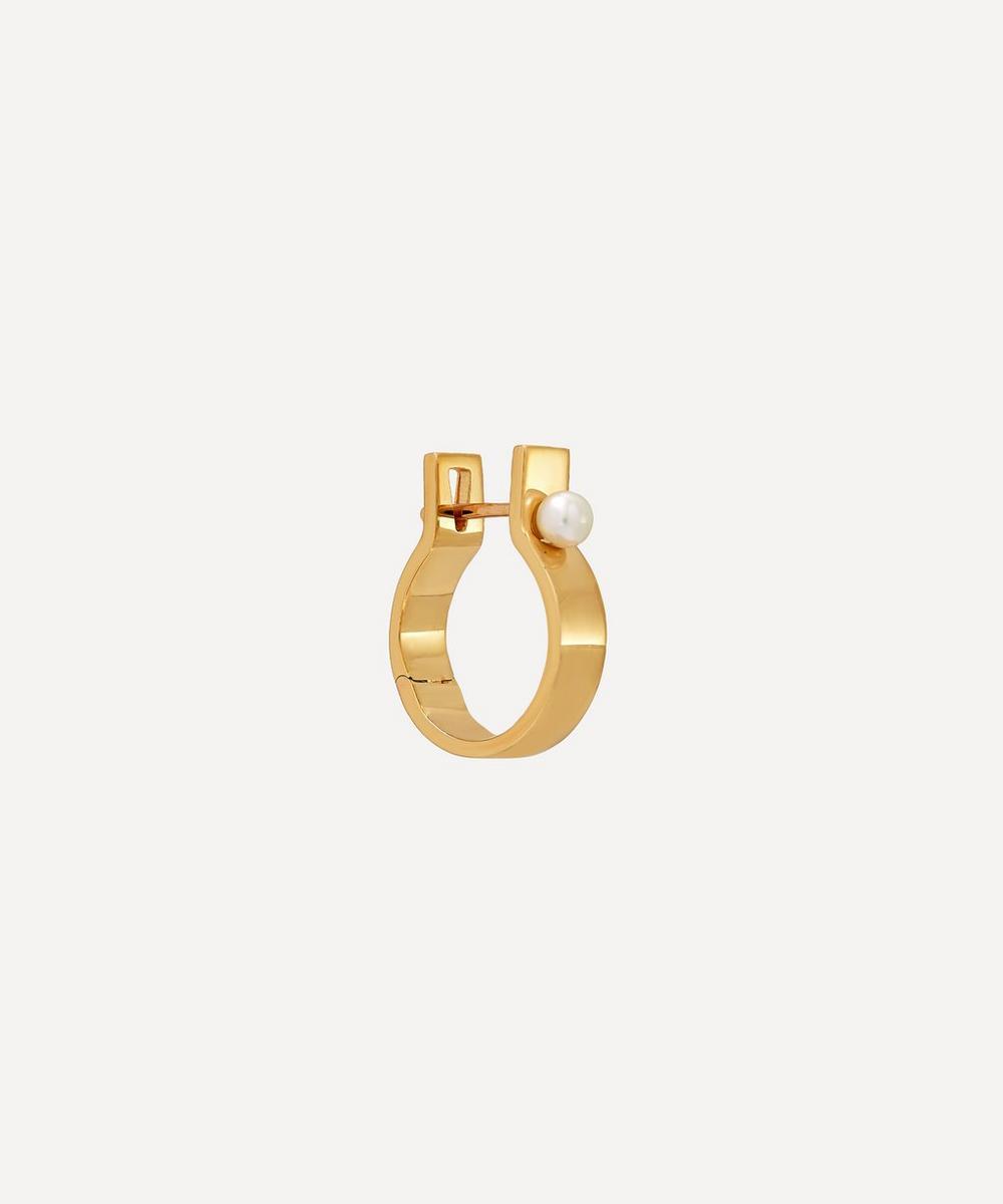 Gold Ind'stria 5mm Pearl Hoop Earring