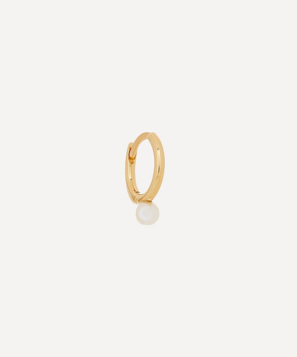 18ct Gold Small Akoya Pearl Hoop Earring