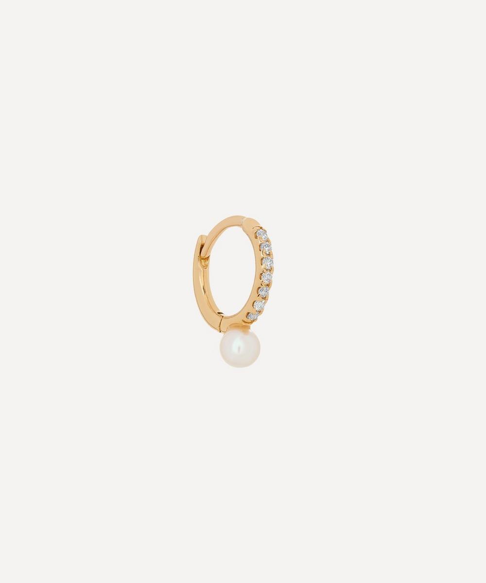 18ct Gold Small Diamond and Akoya Pearl Hoop Earring
