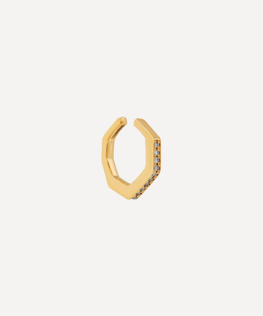 Gold Small Octagon Diamond Ear Cuff
