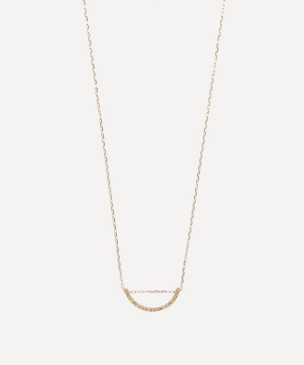 Gold Bow Medium Diamond Pendant Necklace