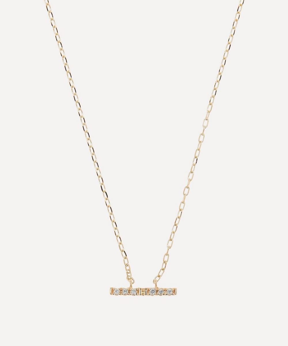 Gold Trapeze Small Diamond Pendant Necklace