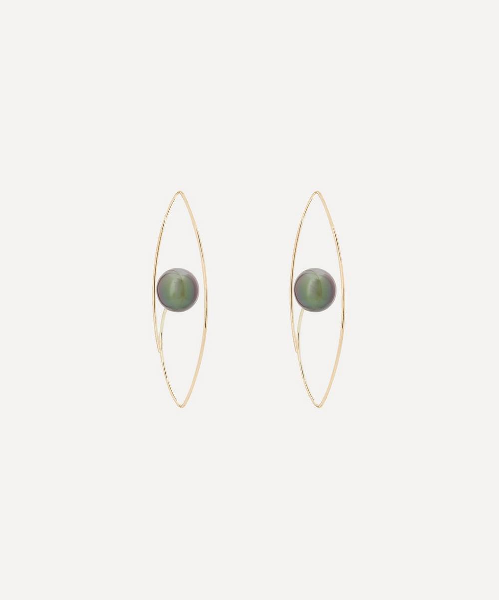 Gold Large Tahitian Black Pearl Floating Oval Hoop Earrings