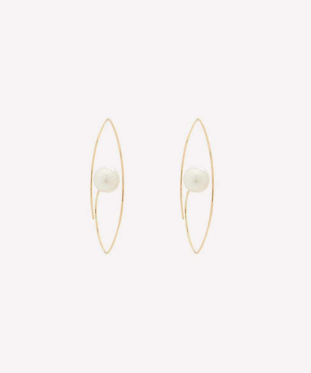 Gold Large South Sea Pearl Floating Oval Hoop Earrings