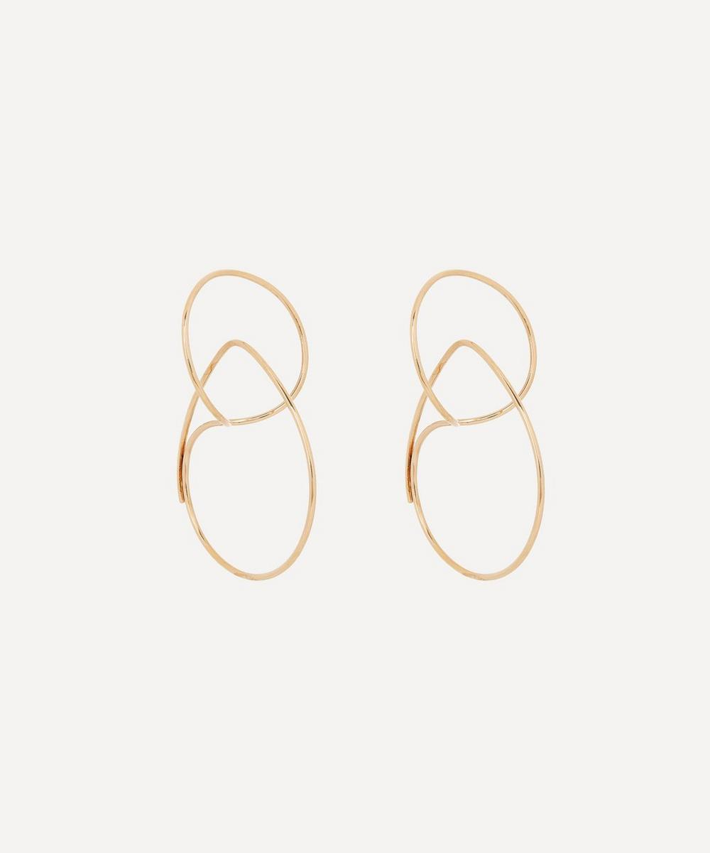 Gold Small Floating Double Hoop Earrings