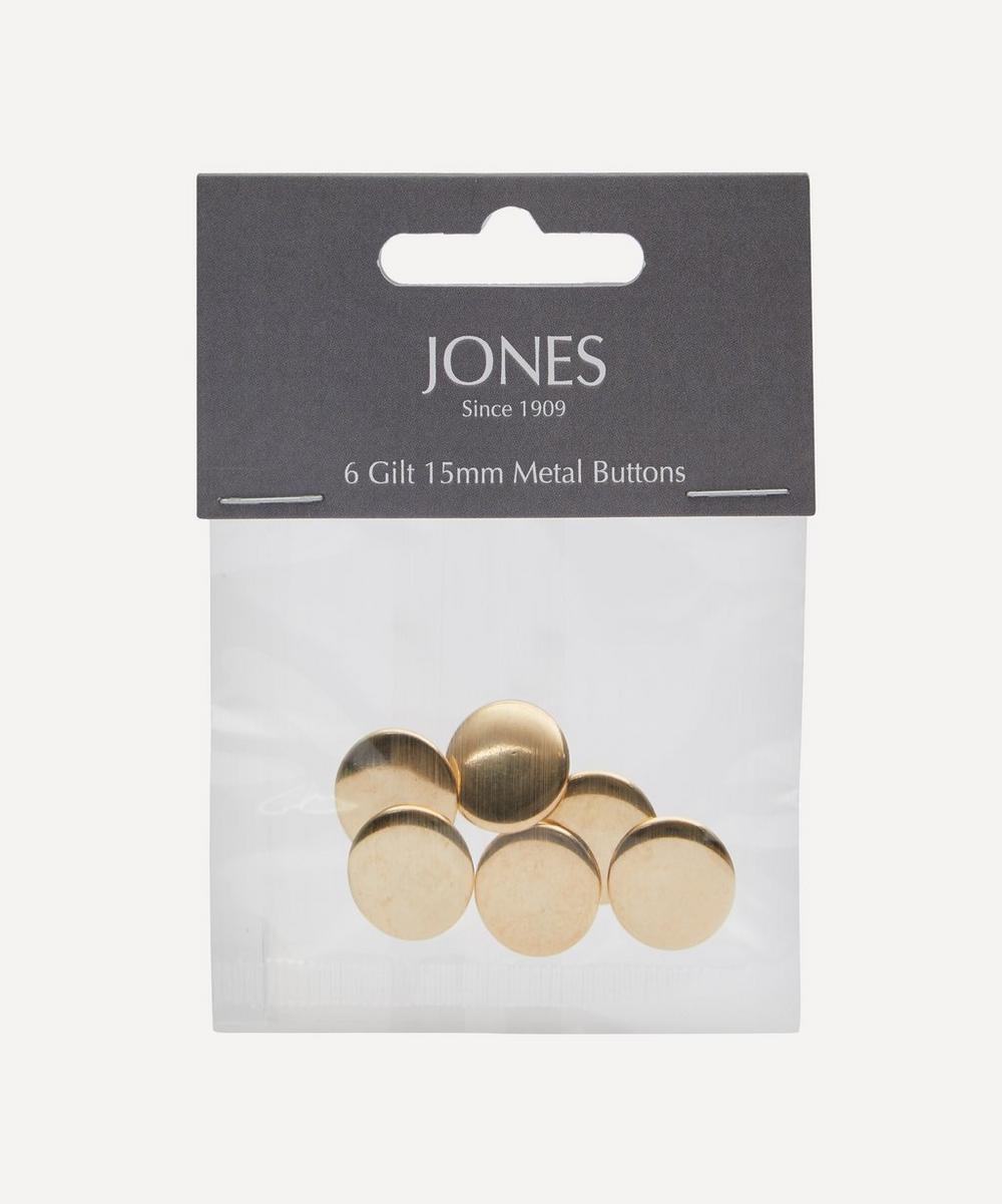 Metal 15mm Blazer Cuff Buttons ' Pack of 6
