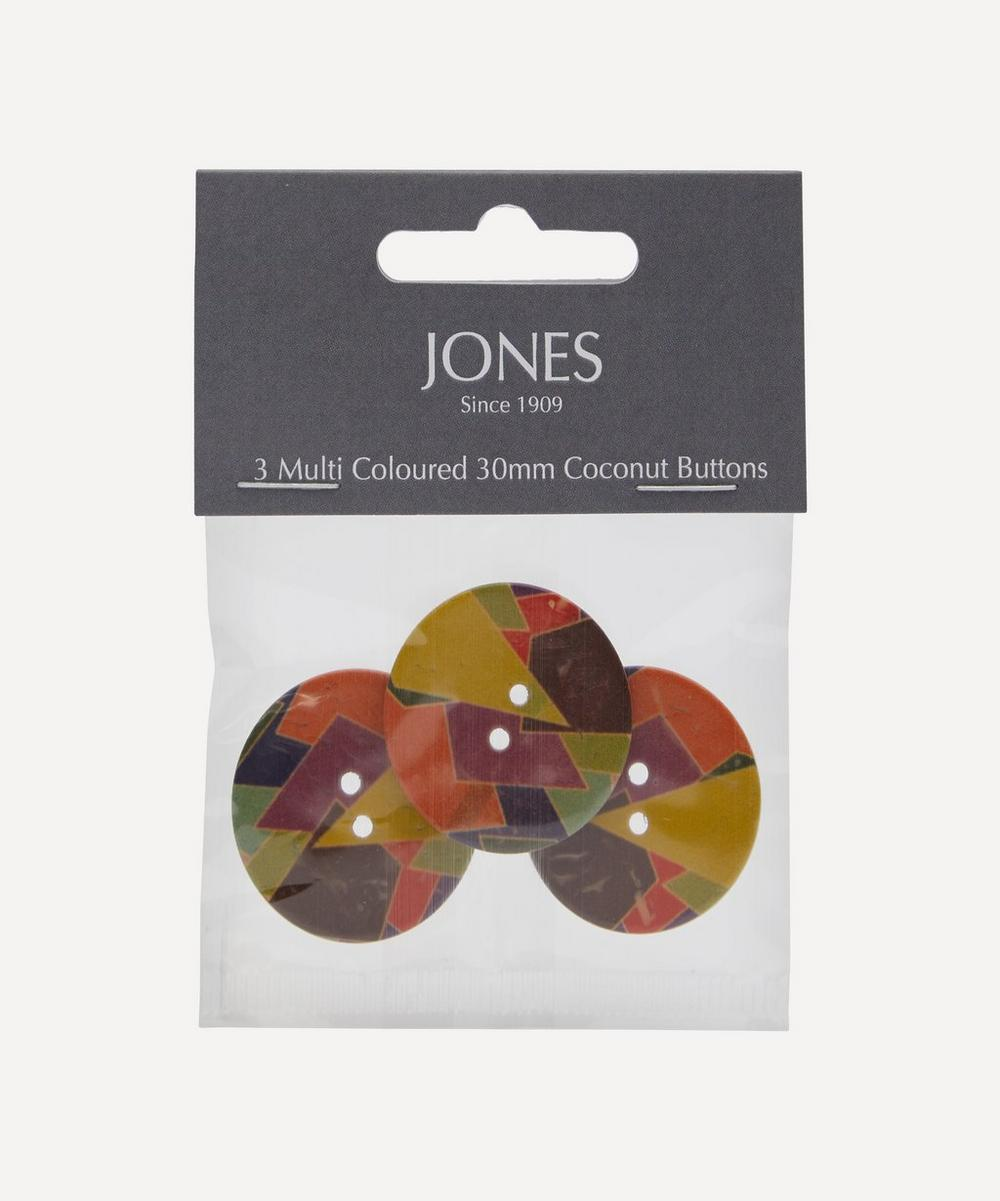 Coconut 30mm Ladies Buttons ' Pack of 3