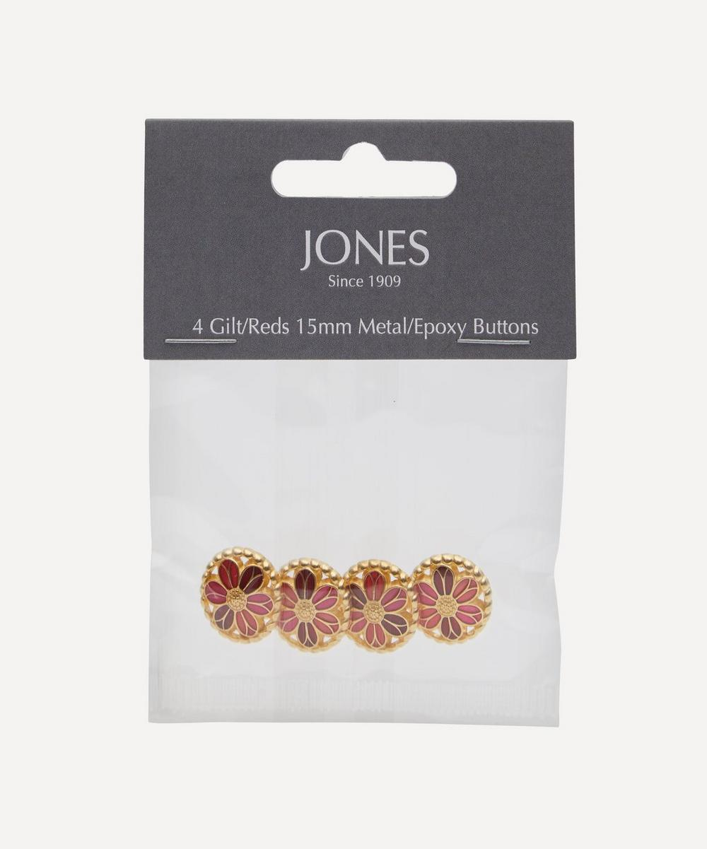 Gilt and Resin 15mm Ladies Buttons ' Pack of 4