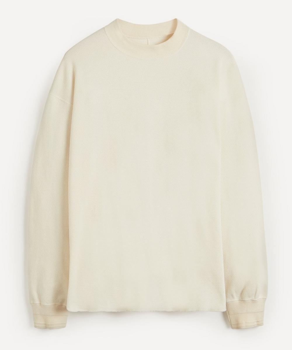 Honeycomb Mock Neck Long-Sleeve T-Shirt