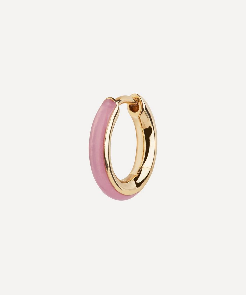 Gold-Plated Kate Lilac Enamel Huggie Hoop Earring