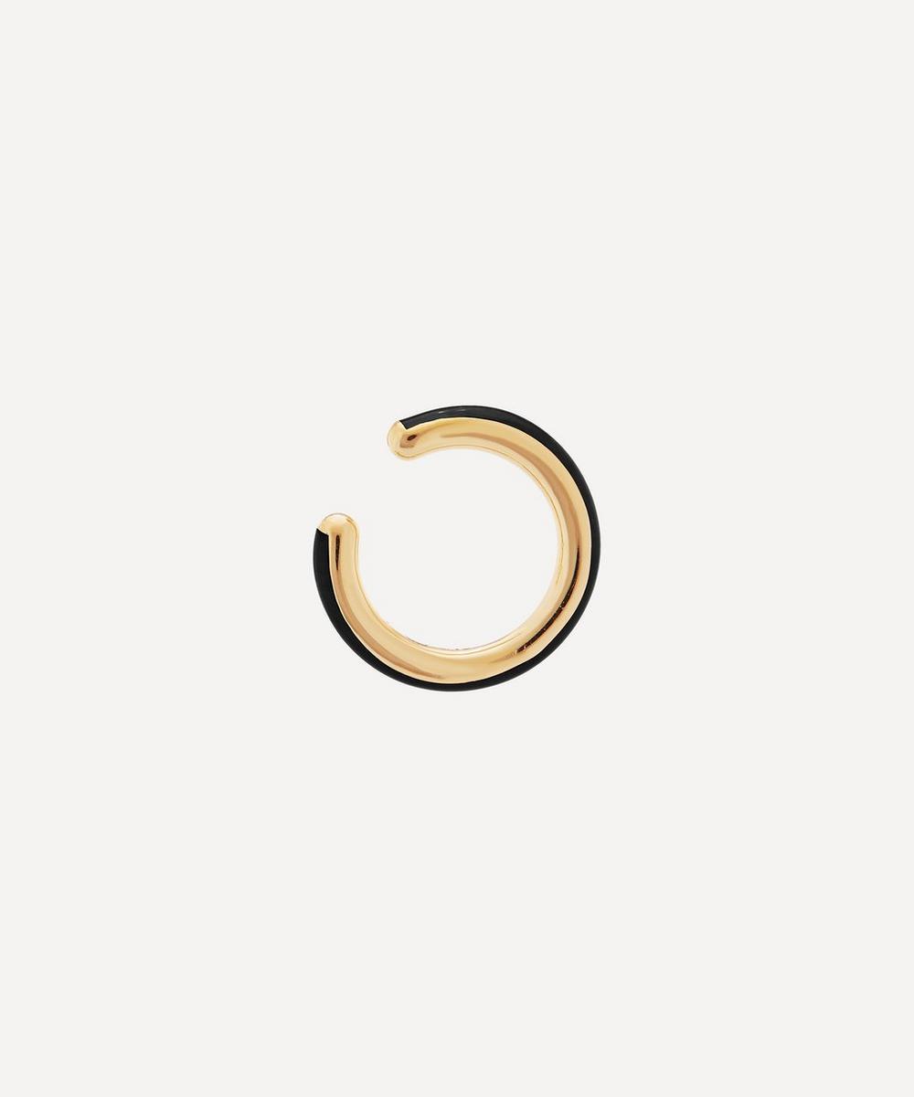 Gold-Plated Cindy Ebony Enamel Ear Cuff