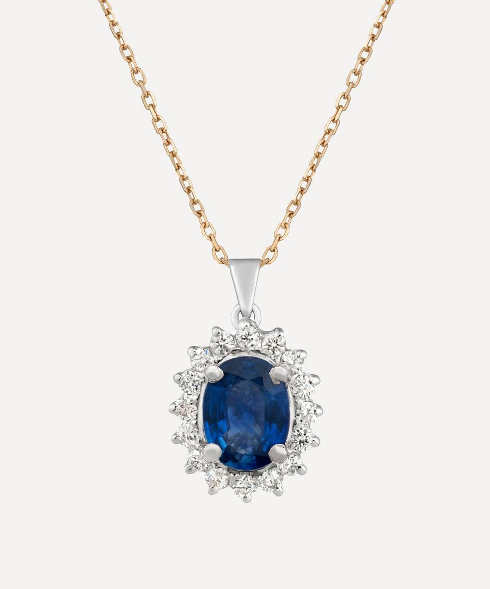 Gold Sapphire and Diamond Cluster Pendant Necklace