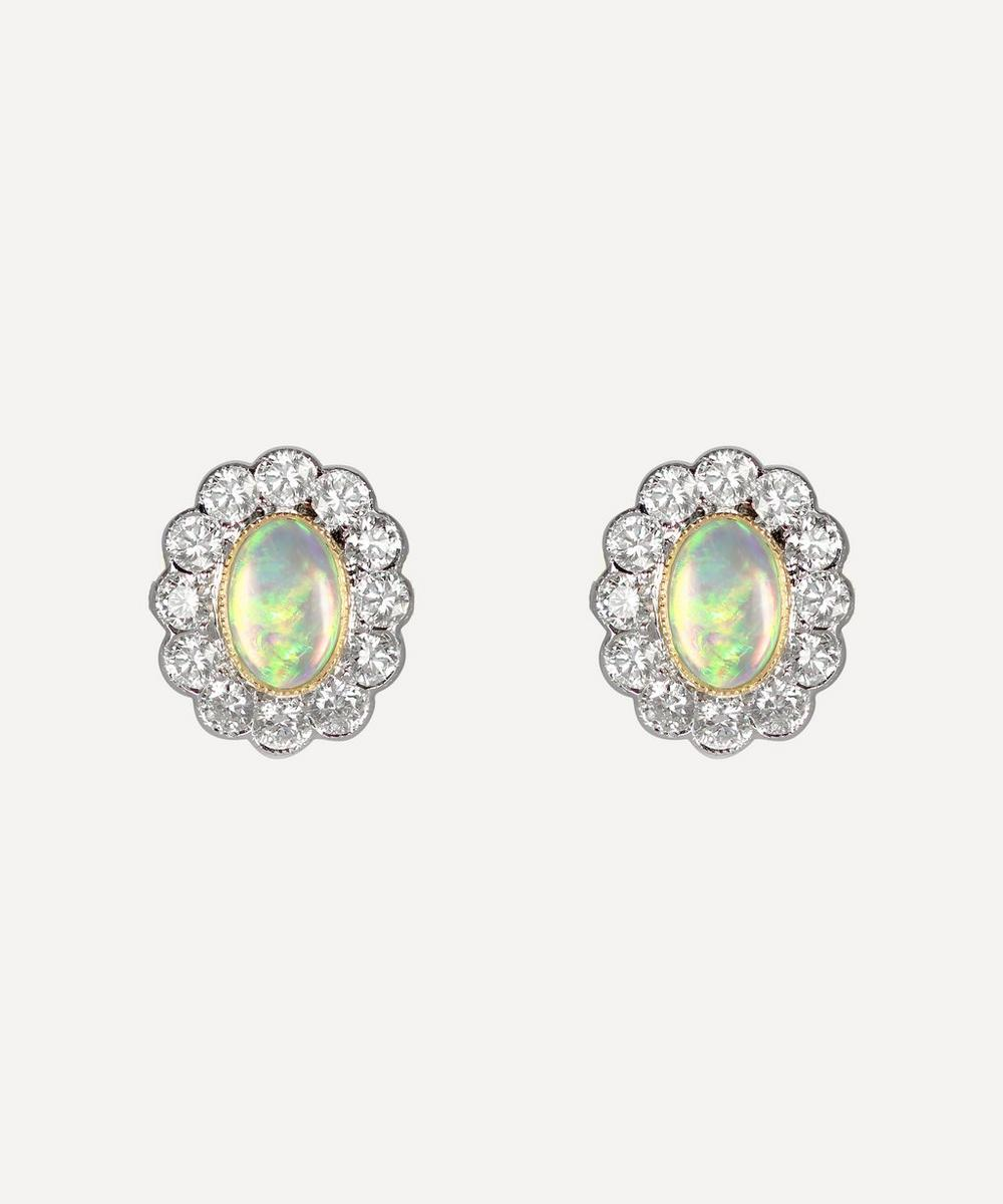 White Gold Opal and Diamond Cluster Stud Earrings