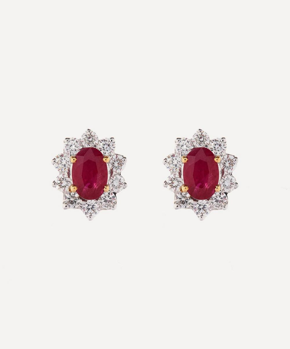 White Gold Ruby and Diamond Cluster Stud Earrings