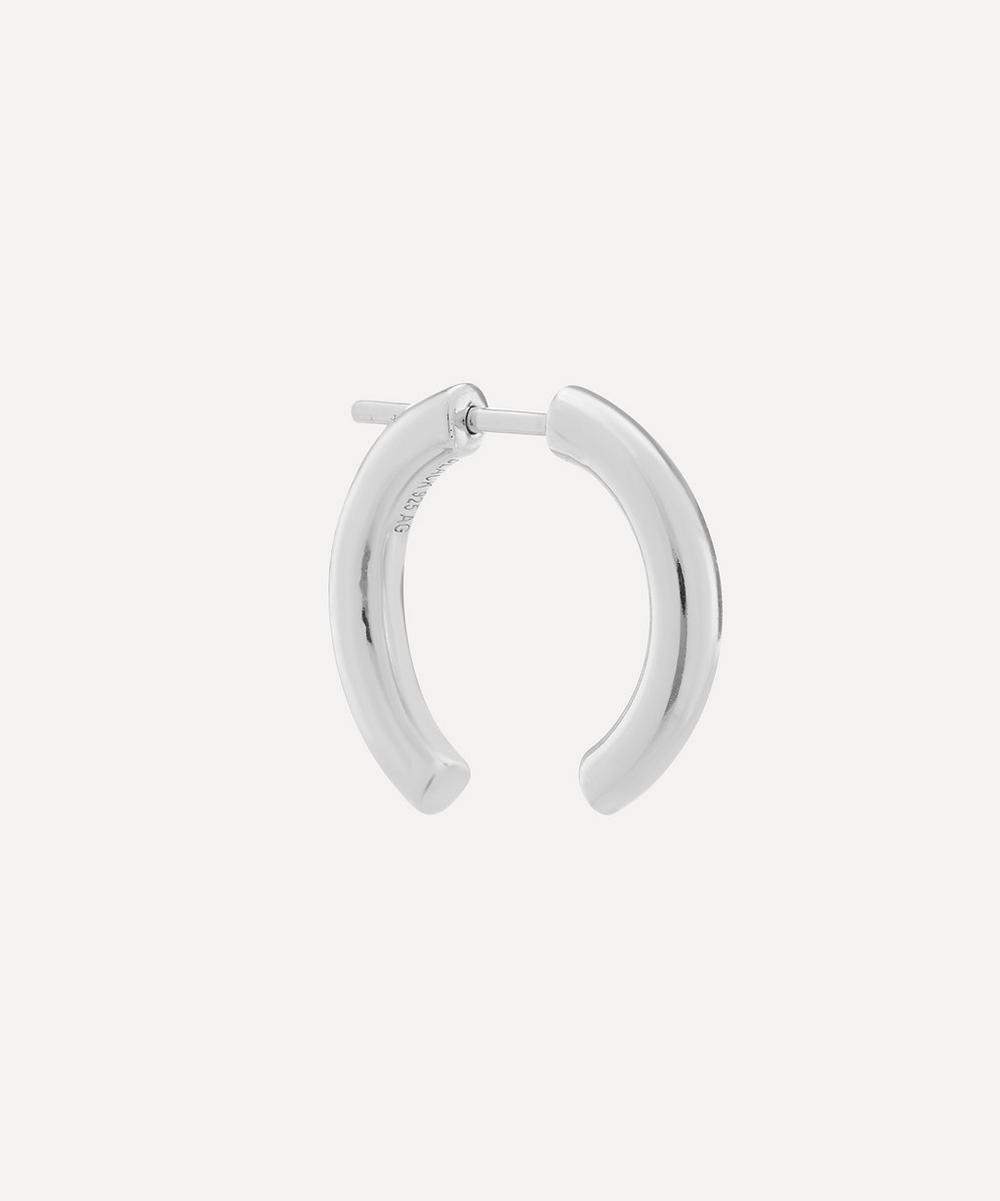 White Rhodium-Plated Broken 18 Hoop Earring