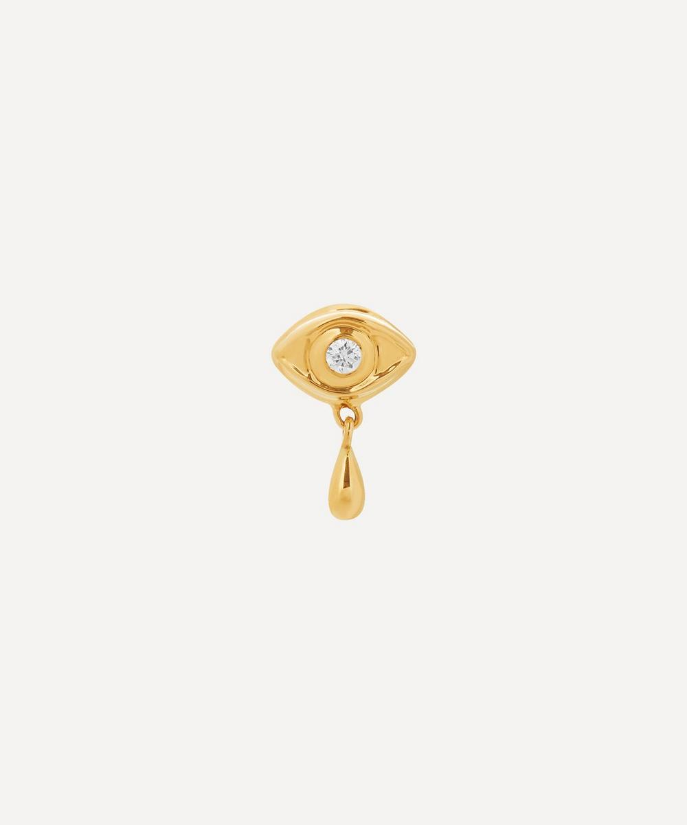 Gold Eye Diamond Stud Earring